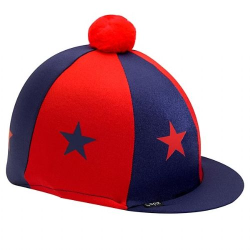 Capz Lycra Star Hat Cover with Pom Pom in Navy/Red